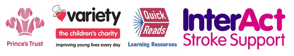 The Prince's Trust, Variety Children's Charity, Quick Reads, InterAct Stroke Support logos